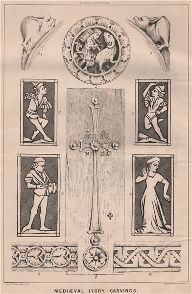 Associate Product Print of mediaeval lvory carvings. Elephant tusks. Decorative 1868 old