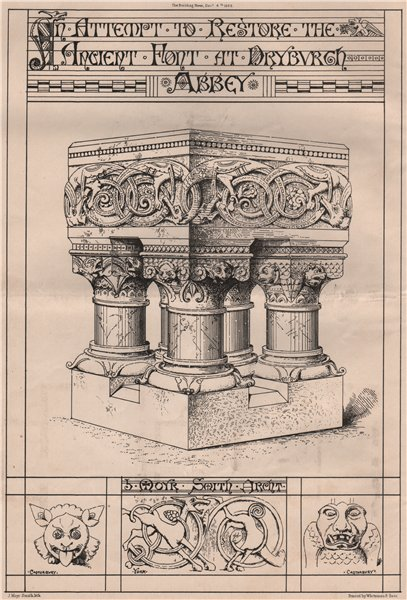 Associate Product The ancient font at Dryburgh Abbey; J. Moyr Smith Architect. Scotland 1868