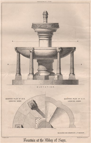 Associate Product Fountain at the Abbey of Sayn. Rhineland-Palatinate 1868 old antique print