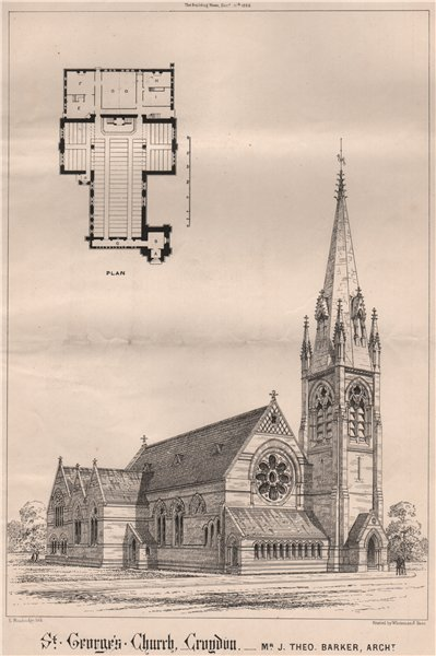 Associate Product St. George's Church, Croydon. London 1868 old antique vintage print picture