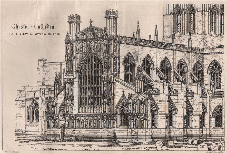 Associate Product Chester Cathedral; part view showing detail. Cheshire 1869 old antique print