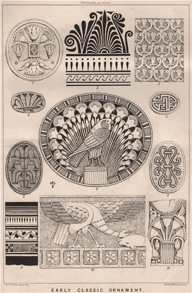 Associate Product Early classic ornament. Decorative (2) 1869 old antique vintage print picture
