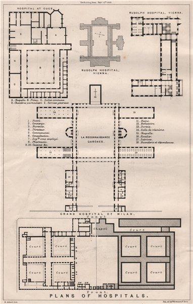 Associate Product Plans of hospitals. Buildings (2) 1869 old antique vintage print picture