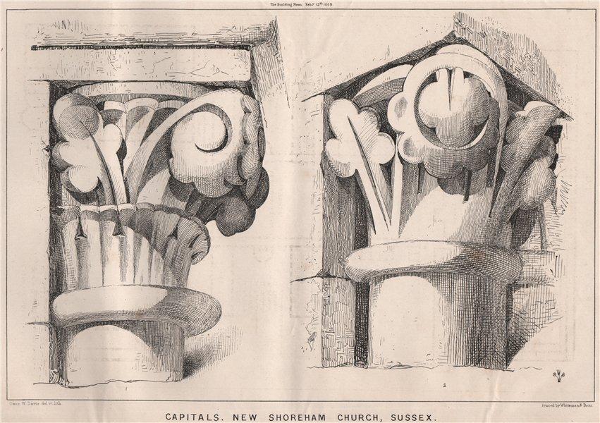 Associate Product Capitals, New Shoreham Church, Sussex 1869 old antique vintage print picture