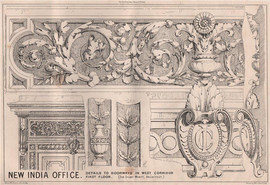 Associate Product New India Office. Doorways in west corridor; Sir Digby Wyatt Architect 1869