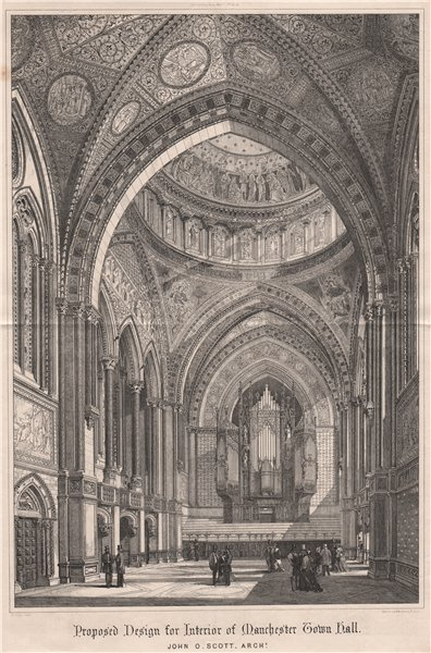 Associate Product Manchester Town Hall interior; John O. Scott, Architect 1869 old antique print