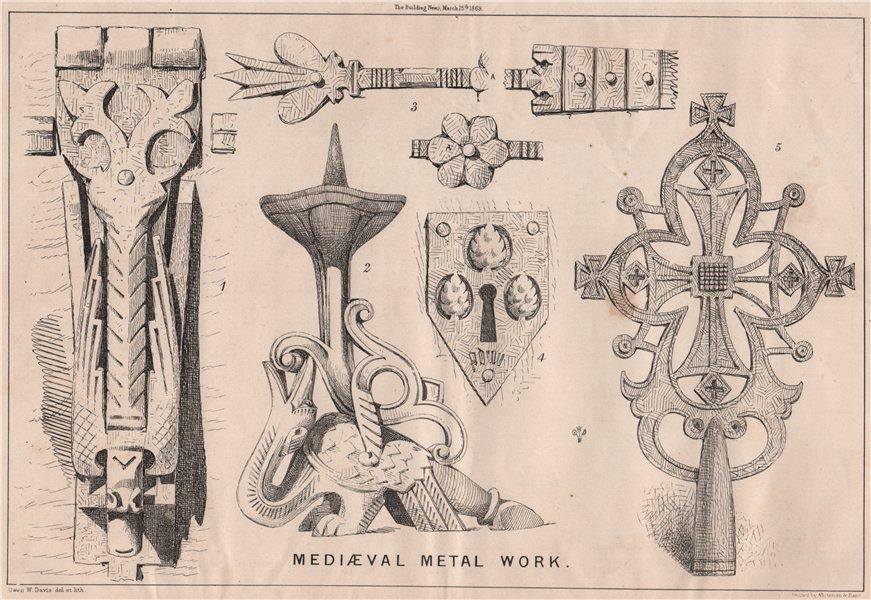 Associate Product Mediaeval metal work . Decorative 1869 old antique vintage print picture