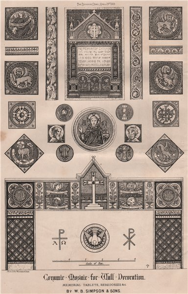 Associate Product Ceramic Mosaic wall decor. Memorial tablets, Reredosses; WB Simpson & Sons 1869