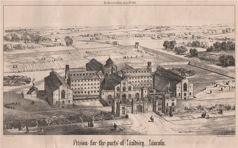Associate Product Prison for the parts of Lindsey, Lincoln. Lincolnshire 1869 old antique print