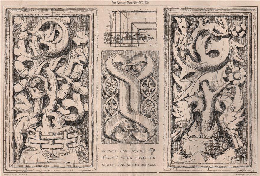 Associate Product Carved oak panels. 16th Centy. work, from the South Kensington Museum 1869