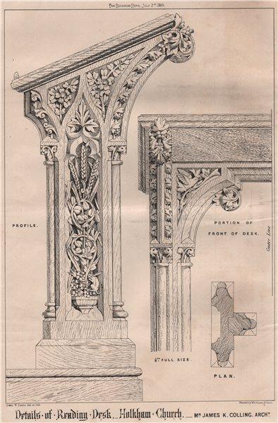 Associate Product Details of reading desk, Holkham Church; James Colling Architect. Norfolk 1869