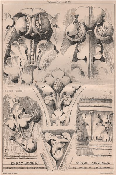 Associate Product Early Gothic stone carvings; drawn & lithographed by Owen W. Davis 1869 print
