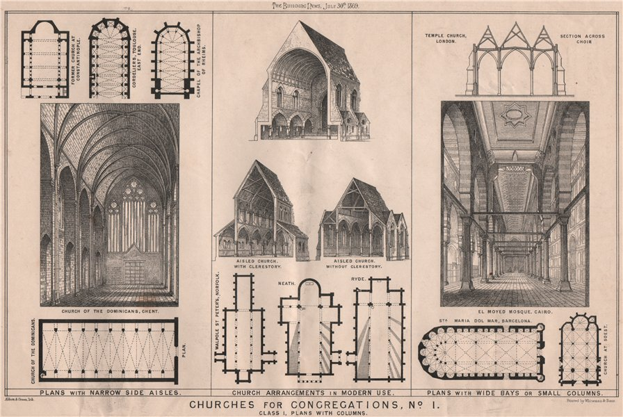 Associate Product Churches for congregations, No. I. Class I, plans with columns 1869 old print