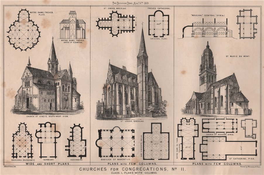 Associate Product Churches for congregations, No. II. Class I, plans with columns 1869 old print