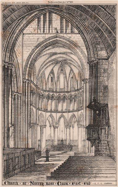 Associate Product Church at Norrey near Caen. East end; E.E.C. Clarke. Calvados 1869 old print