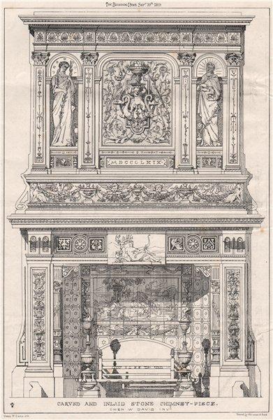 Associate Product Carved and inlaid stone chimney-piece. Owen W. Davis Invi. Decorative 1869