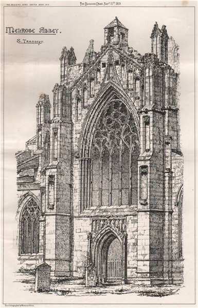 Associate Product Melrose Abbey; St. Transept. Scotland 1869 old antique vintage print picture