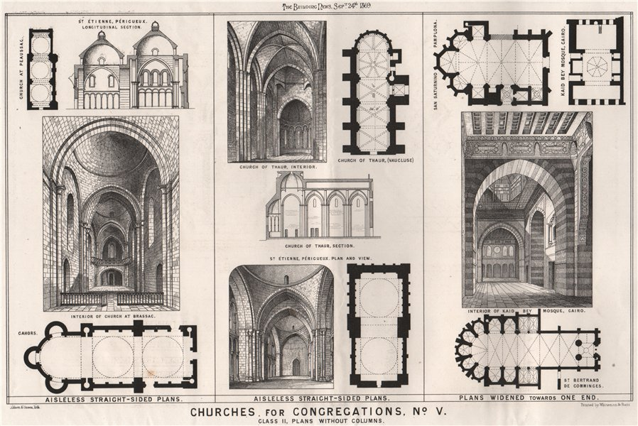 Associate Product Churches for congregations, No. V. Class II, plans without columns 1869 print