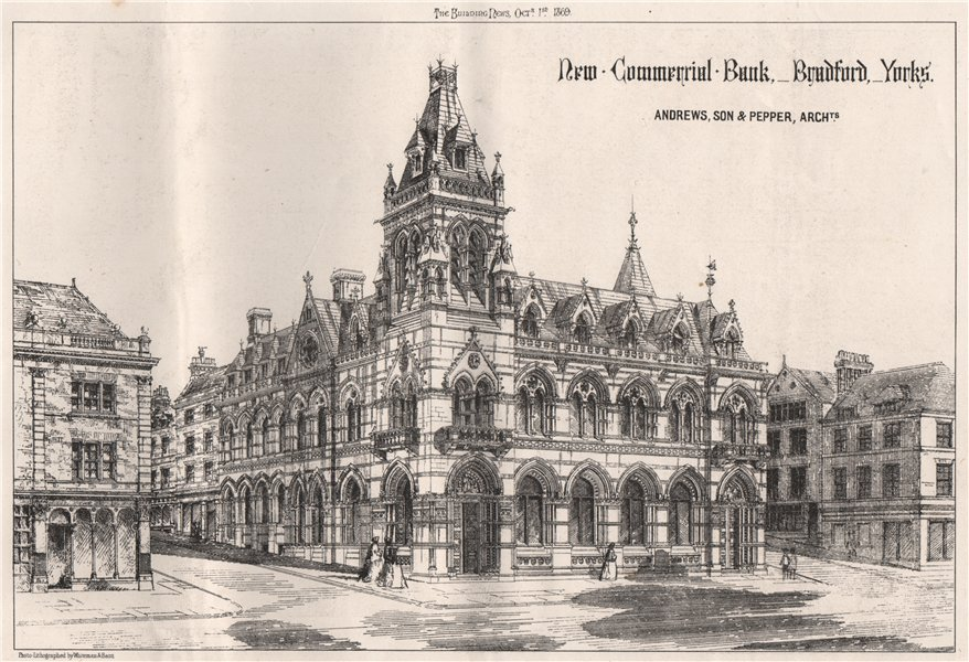 Associate Product New Commercial Bank, Bradford; Andrews, Son & Pepper Architects. Yorkshire 1869