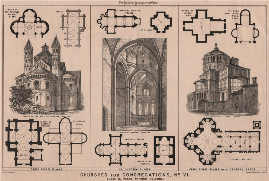 Associate Product Churches for congregations, No. VI. Class II, plans without columns 1869 print