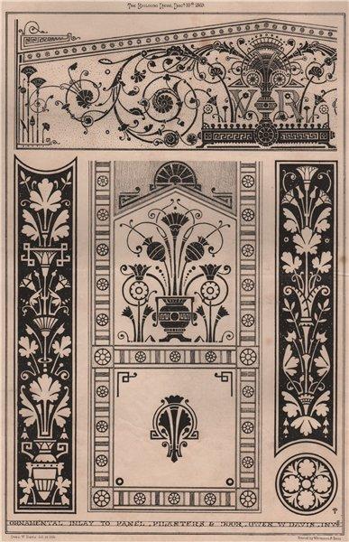 Associate Product Ornamental inlay to panel, pilasters & door; Owen W. Davis, Invt 1869 print