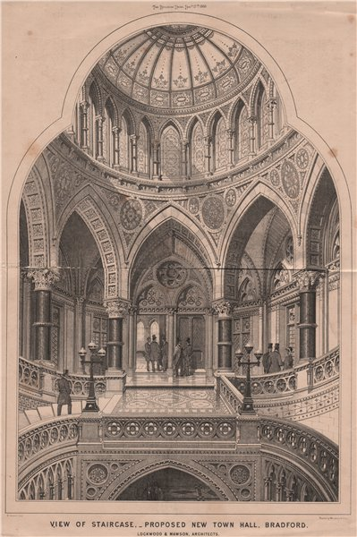 Associate Product Staircase, proposed New Town Hall, Bradford. Lockwood & Mawson. Yorkshire 1869