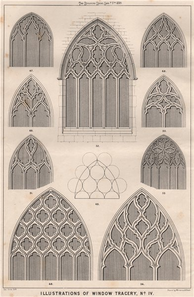 Illustrations of window tracery, No. IV . Decorative 1870 old antique print