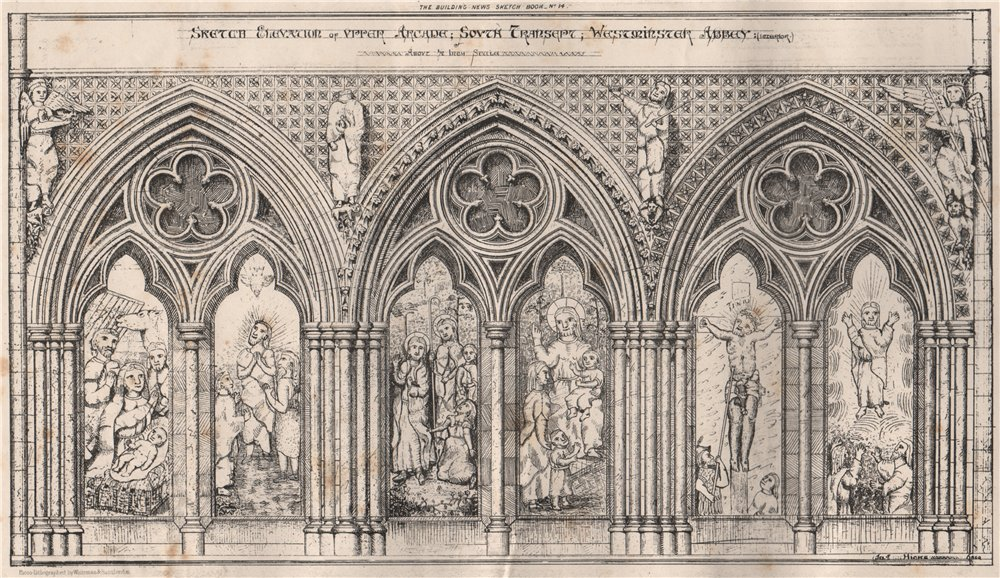 Associate Product Elevation of upper arcade, south transept, Westminster Abbey (Interior) 1870