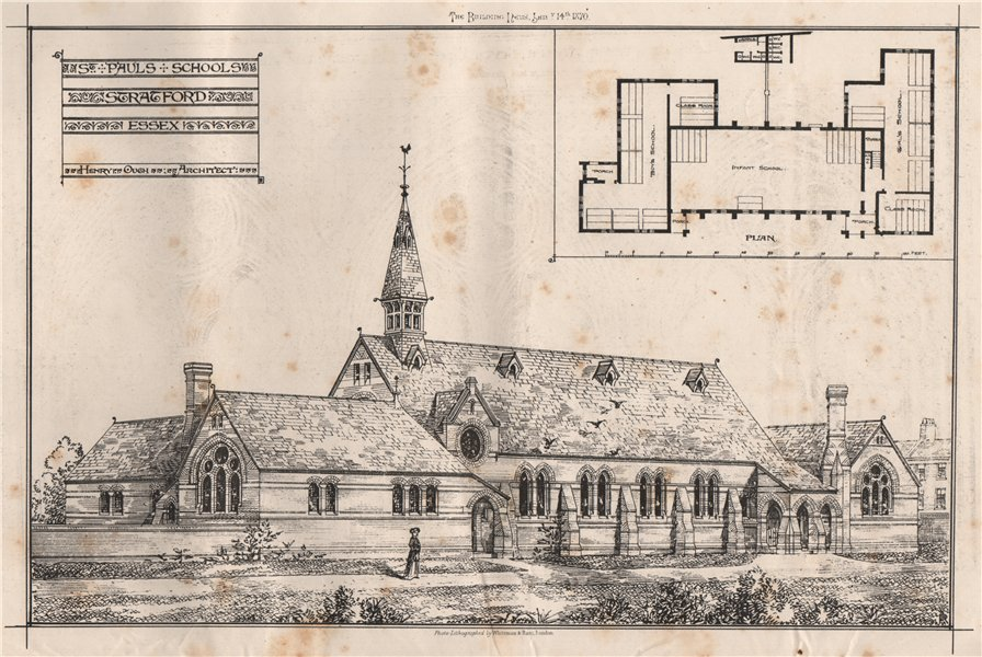 Associate Product St. Pauls Schools, Stratford Essex; Henry Ough, Architect. London 1870 print