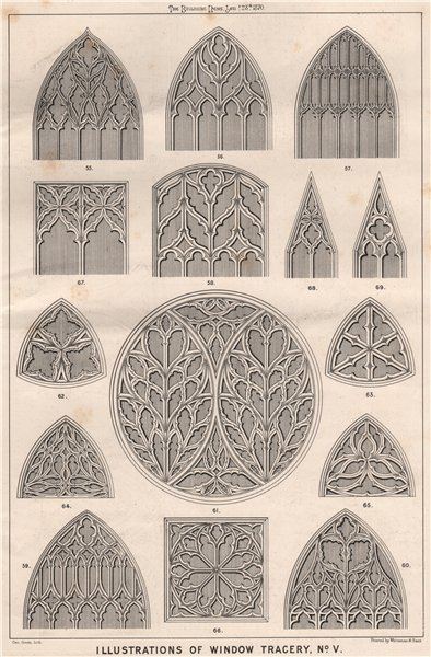 Associate Product Illustrations of window Tracery, No. V . Decorative 1870 old antique print