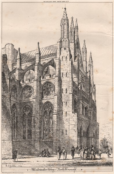Associate Product Westminster Abbey, North Transept. London 1870 old antique print picture