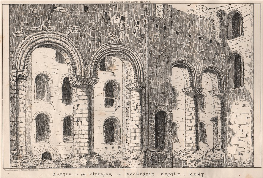 Associate Product Sketch in the interior of Rochester Castle, Kent 1870 old antique print