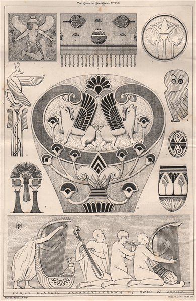 Associate Product Early Classic Ornament; Drawn by Owen W. Davis . Decorative 1870 old print