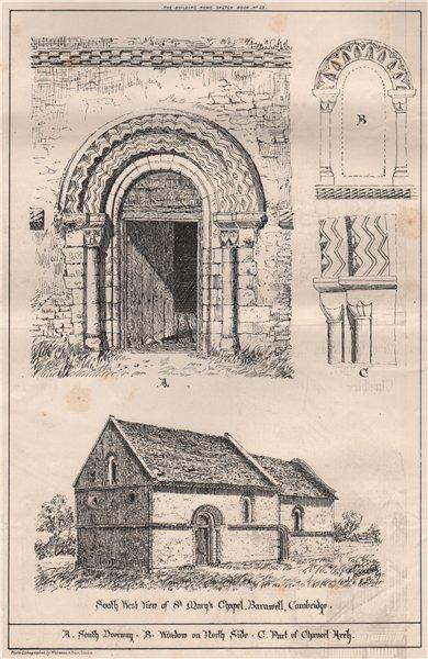 Associate Product St. Mary's Chapel, Barnwell, Cambridge. Cambridgeshire 1870 old antique print