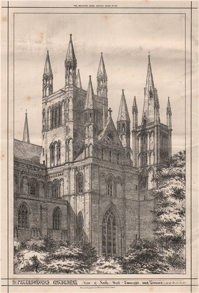 Associate Product Peterborough Cathedral. North west transept & towers. Cambridgeshire 1870