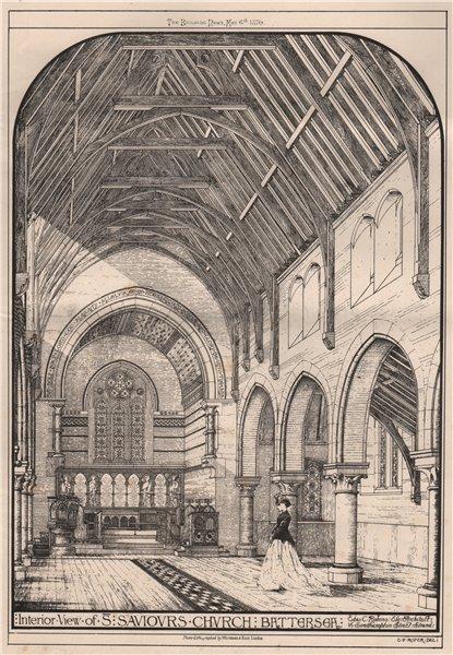 Associate Product Interior, St. Saviours Church, Battersea; Edw C. Robins Architect 1870 print