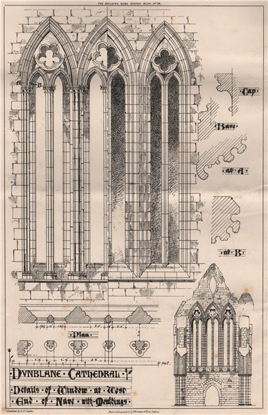 Associate Product Dunblane Cathedral - details of window at west end of nave. Scotland 1870