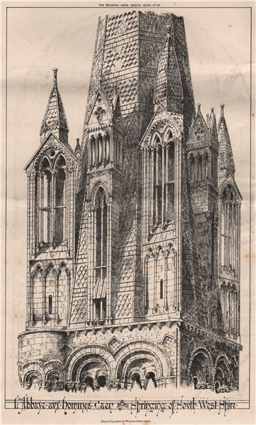 Associate Product L'Abbaye aux hommes, Caen, springing of south west spire. Calvados 1870 print
