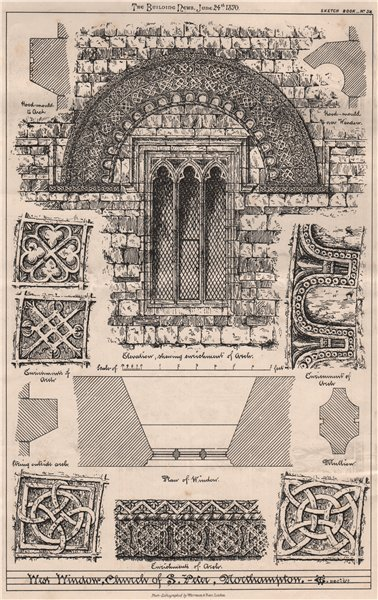 Associate Product West window, Church of St. Peter, Southampton. Hampshire 1870 old print