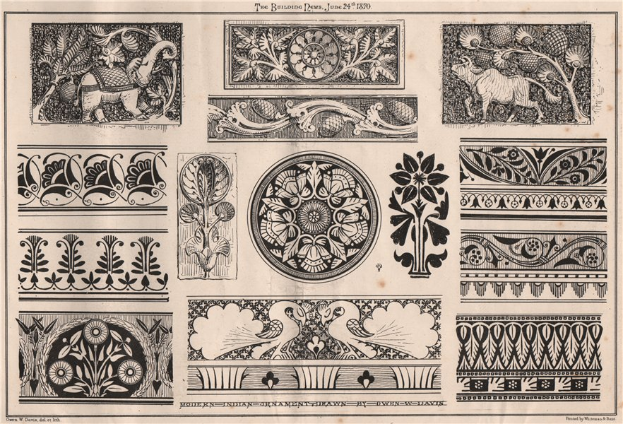 Associate Product Modern Indian ornament; Drawn by Owen W. Davis . Decorative 1870 old print