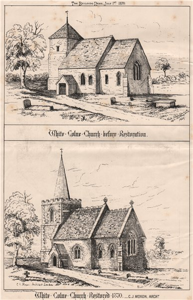 Associate Product White Colne Church, Essex, before/after 1870 restoration; C.J. Moxon Archt 1870