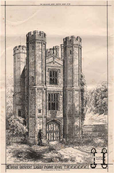 Associate Product Tower gateway, Leighs Priory, Essex 1870 old antique vintage print picture