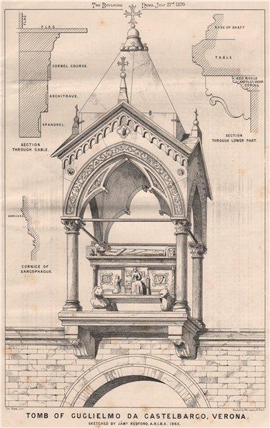 Associate Product Tomb of Guglielmo da Castelbarco, Verona, by James Redford 1870 old print