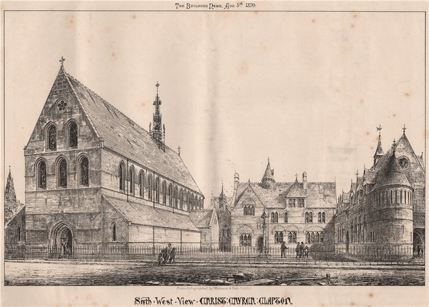 Associate Product South west view, Christ Church, Clapton. London 1870 old antique print picture
