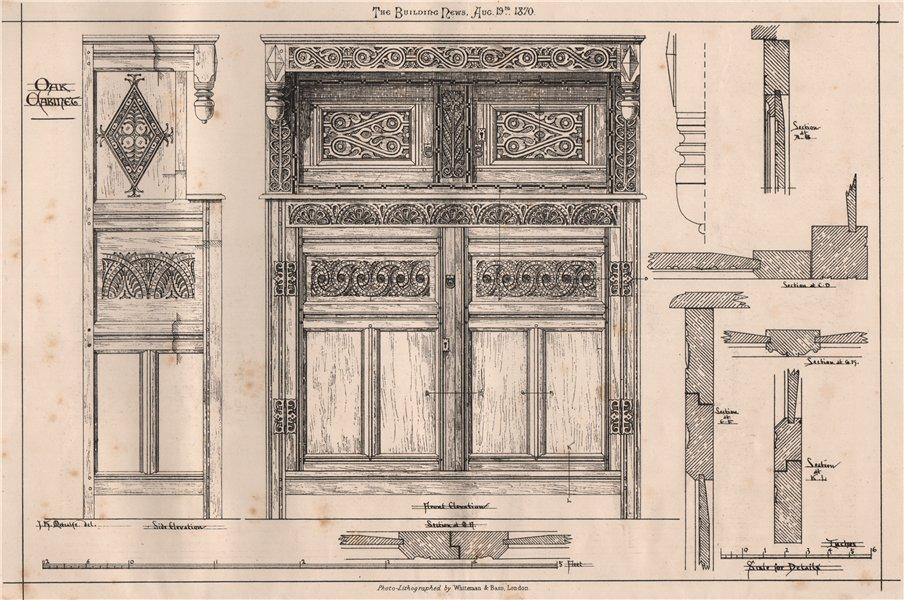 Associate Product Oak cabinet. Decorative 1870 old antique vintage print picture