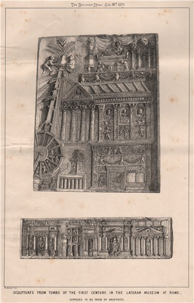 Associate Product 1C tomb sculptures, Lateran Museum at Rome; supposed to be architects 1870