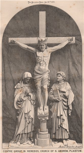 Associate Product Centre group in reredos, Church of St. Andrew, Plaistow; James Brooks Archt 1870