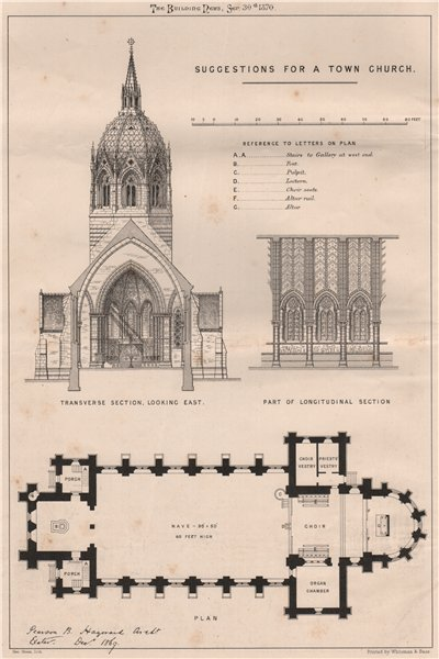 Associate Product Suggestions for a town church; Pearson B. Haguard, Architect. Architecture 1870