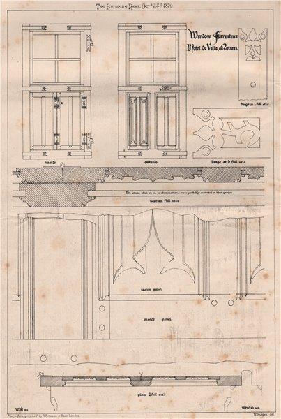Associate Product Window furniture, Hotel de Ville, Rouen. Seine-Maritime 1870 old antique print