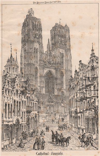 Associate Product Cathedral, Brussels. Belgium 1870 old antique vintage print picture